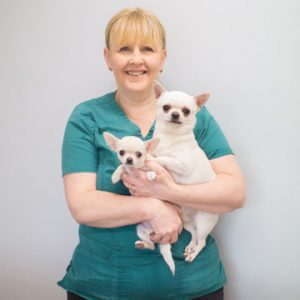 Christine Fairbairn holding two dogs.