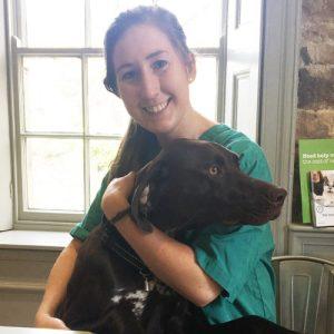 Rachel with a dog.