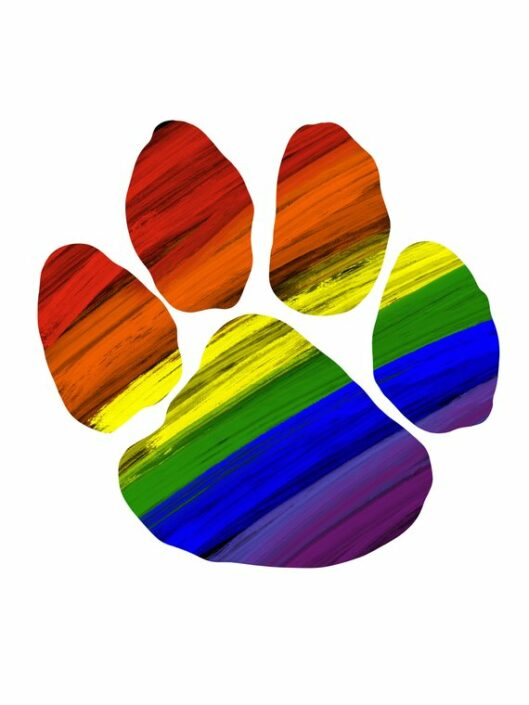 Rainbow dog paw.